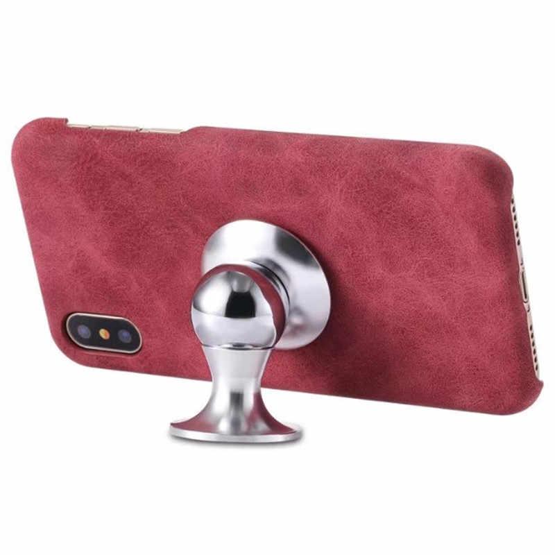Étui En Cuir de luxe Couverture Arrière pour iPhone XS X 7 8plus 10 housse de Téléphone coque Intégré feuilles De Fer support magnétique Cas
