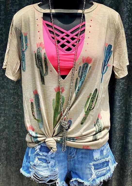 Été femmes Cactus évider Harajuku T-Shirt Vogue chair dames surdimensionné graphique esthétique t-shirts hauts vêtements de Style coréen