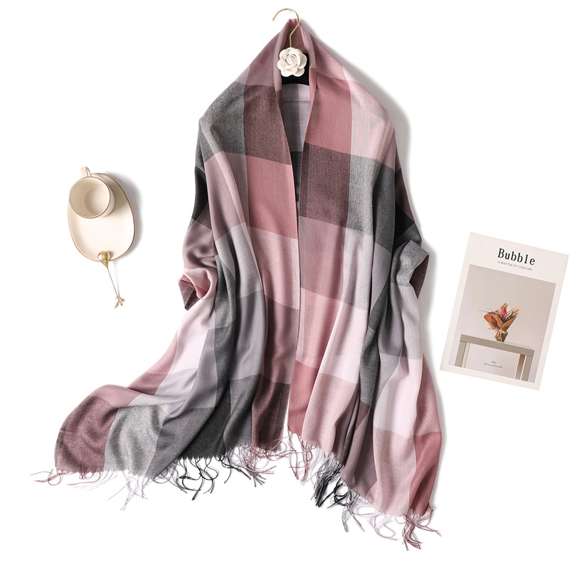 Plaid tassels   scarf   women 2019 winter new high quality foulard long shawls and   wraps   thin spring autumn pashmina ladies hijab