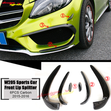 For Benz W205 Sports C63 Look Front Canards Spoiler 6-pcs Carbon C200 C250 Lip Splitters Wing Air Flow Vent 15-16
