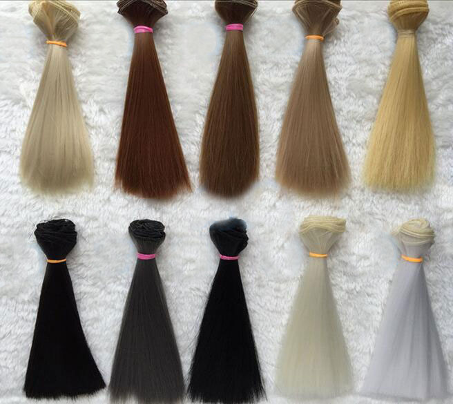 2019 New Doll Wig Hair Pure Multicolour 15cm*100CM 1PC 1/3 1/4 Straight Wig Hair for BJD DIY Accessories Kids Toys Khaki Black