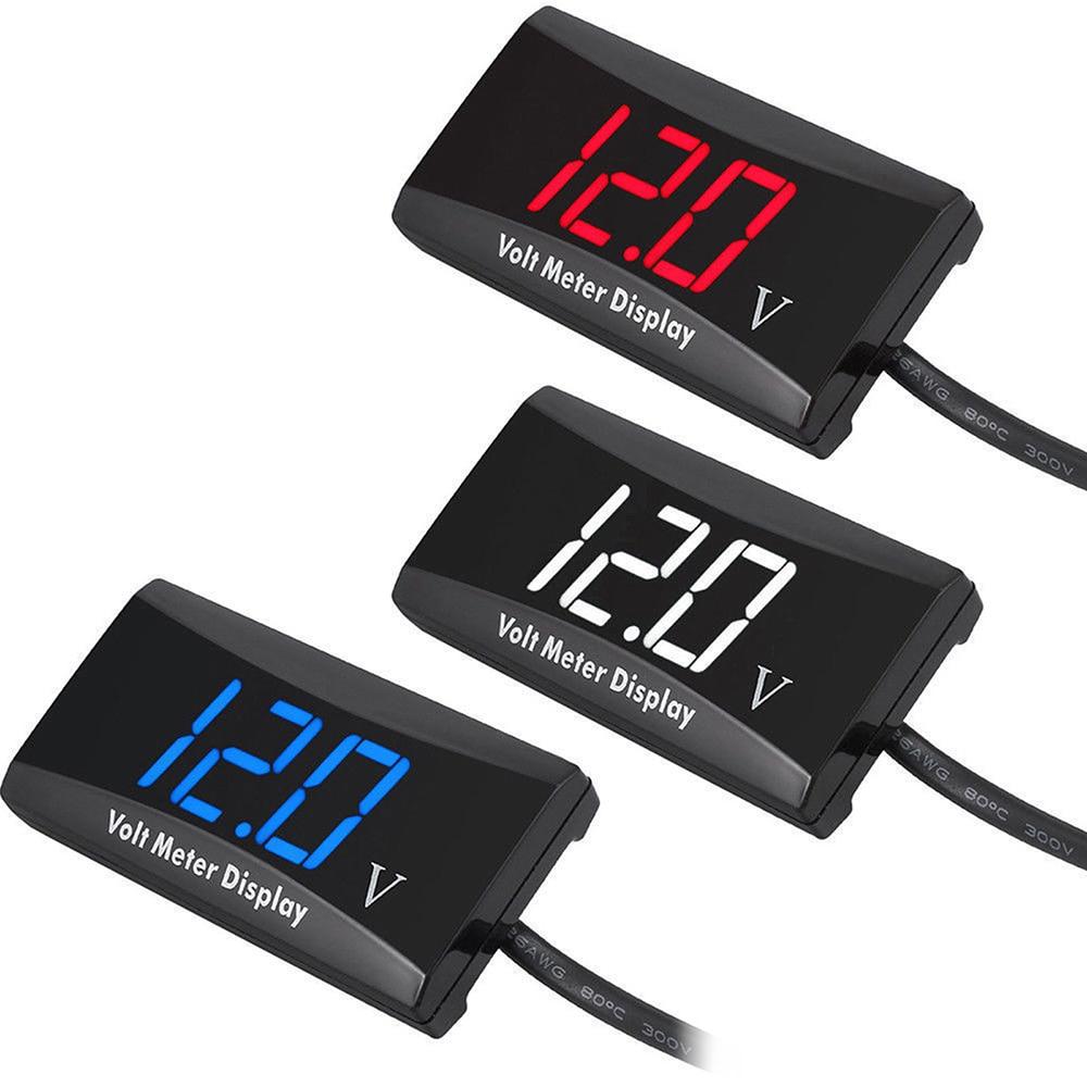 From 12v Led Red Display Voltmeter Motorbike//Car Voltage Volt Gauge Panel Meter