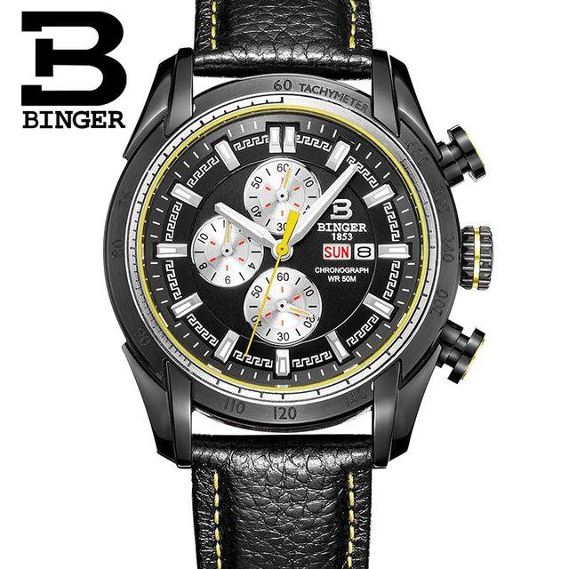 Binger Mens Watches Top Brand Luxury 6 hand Function Chronograph Watch Military Men's Geneva Genuine Leather Quartz Wrist Watch