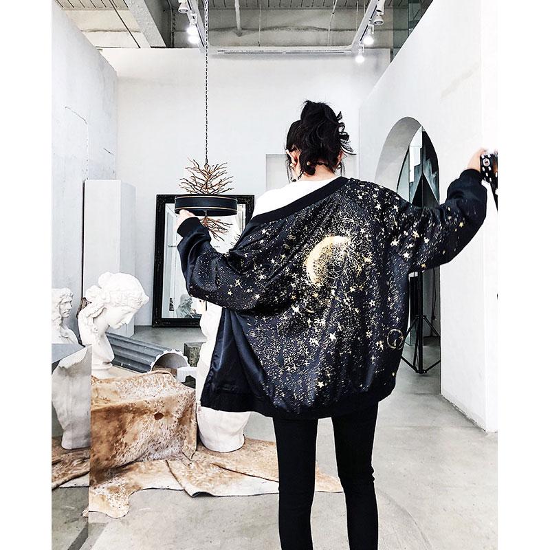 Bomber Noir Y1182 Black Étoiles Dames 2019 La Vol Ulzzang Lâche Plus Taille Pilote Veste Femmes Imprimer Femelle Occasionnel Manteau Twq75Hxq
