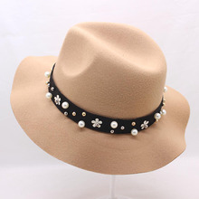 BING YUAN HAO XUAN New Bunker Hat Womens Wide Brim Felt Fedora Bowler Floppy Sun Pearl Belt Big Cloche Cap