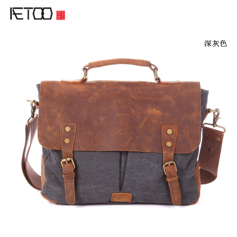 AETOO New computer bag retro mad horse skin clean water canvas bag a generation of cattle xx Messenger bag spot mythos clean skin купить оптом