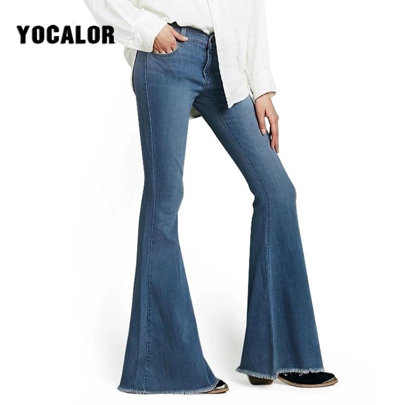 715959f88a7 High Waist Flare Jeans Women Bleached Bell Bottom Skinny Jeans Woman Female  Wide Leg Pants Denim Pantalon Femme Basic Vintage