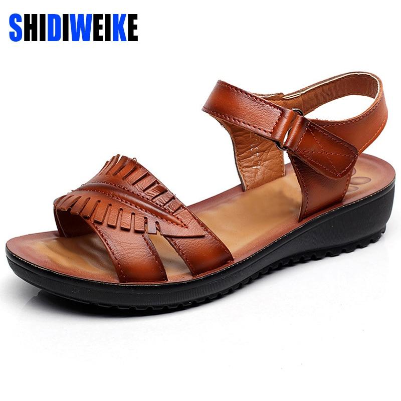 SHIDIWEIKE Summer 2017 Genuine leather Wedges sandals ...