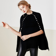 autumn winter new women clothes rivet angora vintage cape wool cloak cloke poncho manteau femme women coat  8052