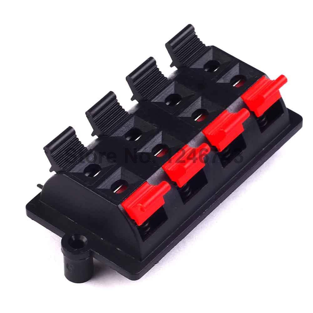 5PCS Double Row 8 Positions (side/curved foot) Connector Terminal Push in Jack Spring Load Audio Speaker Terminals imc hot 2pcs double row red black 12 pin 12 in jack speaker terminals