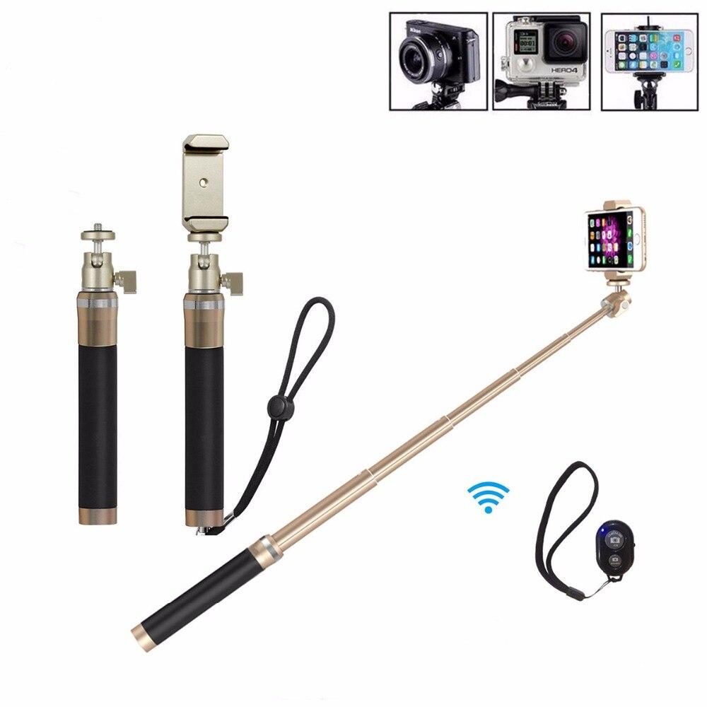 2 in1 20.5-80 см алюминиевый сплав Беспроводная Bluetooth Selfie stick для iPhone Android монопод для GoPro Hero, xiaoyi, SJ камеры