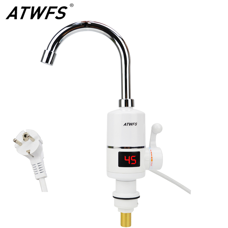 ATWFS Kitchen Tankless Faucet Water Heater Instant Electric Hot Water Tap Fast Heater Sink 3000W Heaters Temperature Display