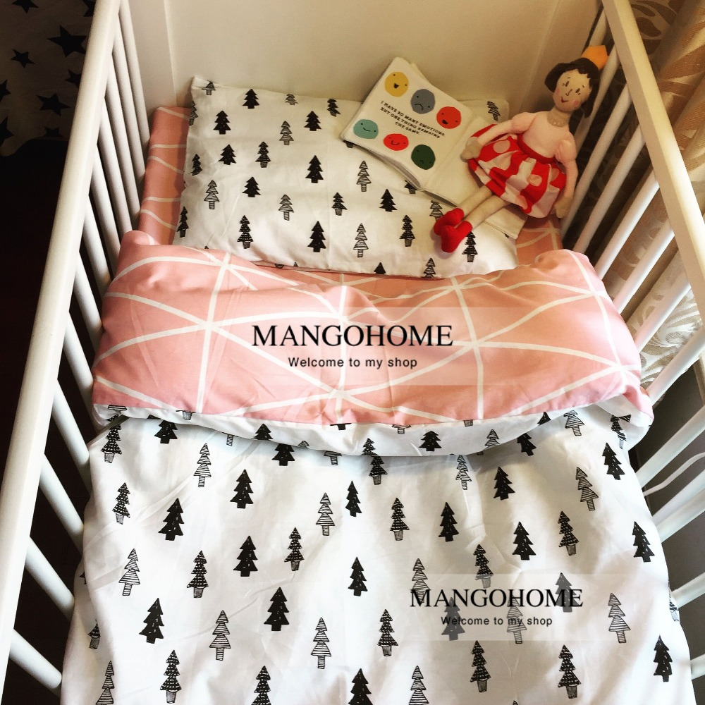 Baby bed sheet pattern - Aliexpress Com Buy 120 60cm 130 70cm Cute Baby Crib Bedding Set 100 Cotton Included Flat Sheets Baby Bedding Clouds Pine Crown Pattern For Girls From