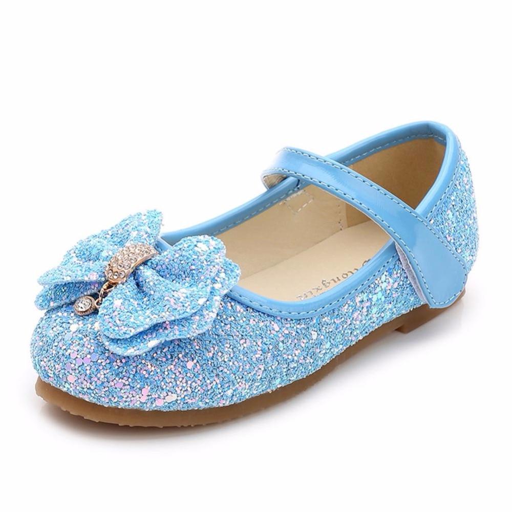 Little Girls Dress Up Shoes Balet Taniec Flat Casual Front Glitter - Obuwie dziecięce - Zdjęcie 3