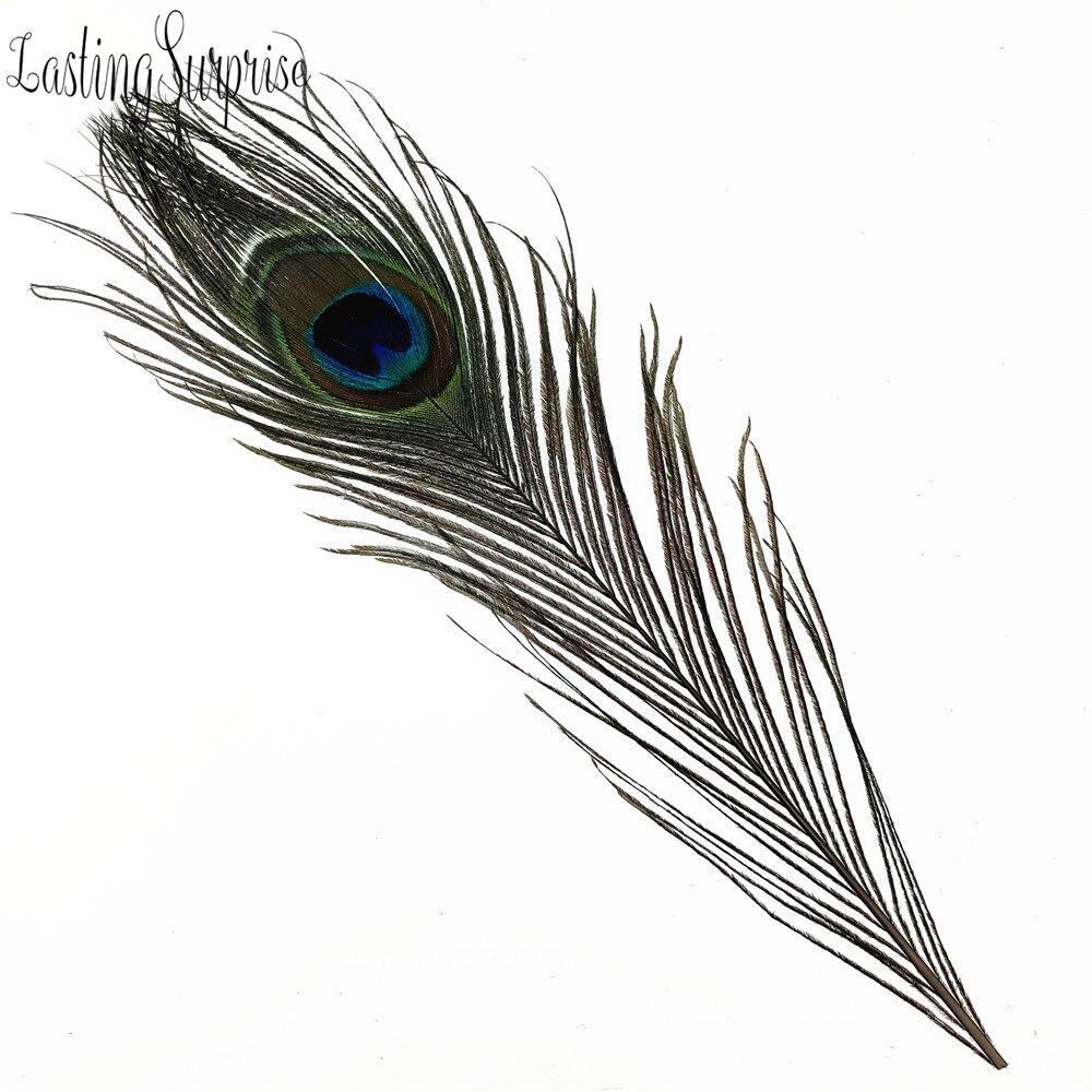 Купить с кэшбэком Peacock Feathers Bleached & Dyeing Long Beautiful Eyed Feathers Green DIY Craft Holiday Wedding Decorations 10pcs 10-12inch