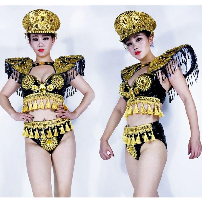 Rhinestone Tassel Bikini Sets GOGO Golden Armor Sexy Bikini DS Costume Bar Women Singer Team Jazz Dance Wear DJ Stage Outfit