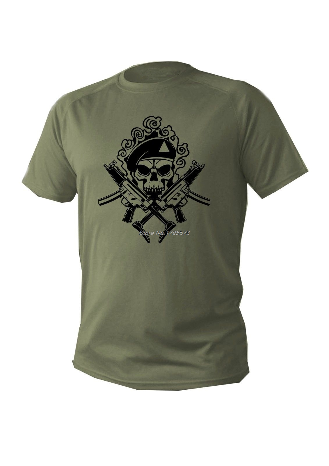 0c214faaccb2 Fashion Cool Men Short Sleeve Cotton T-shirt Green Olive Military Design  Army Skull T