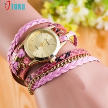 2017 New Arrival  Fashion Wrap Around Bracelet Watch Synthetic Leather Chain Watch Creative