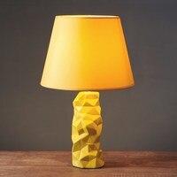 Американский стиль керамическая желтый настольные лампы кафе свет прикроватная тумбочка для спальни свадьбы Ресторан отеля украшения сто