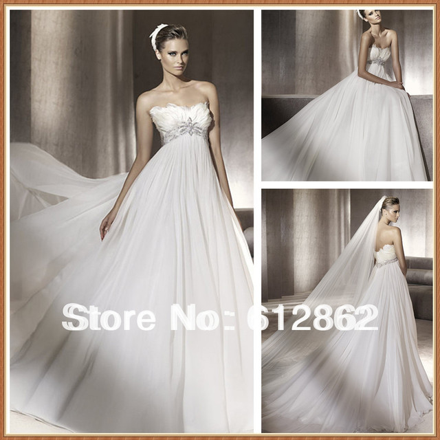 Hot Selling Low Back Empire Waist With Feathers And Beads Wedding Dresses For Pregnant Women