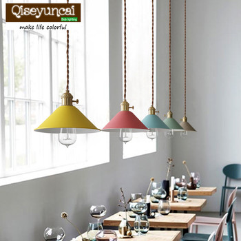 Qiseyuncai The Nordic minimalist modern creative Cafe Bar Restaurant bedroom Macarons umbrella Pendant lamp