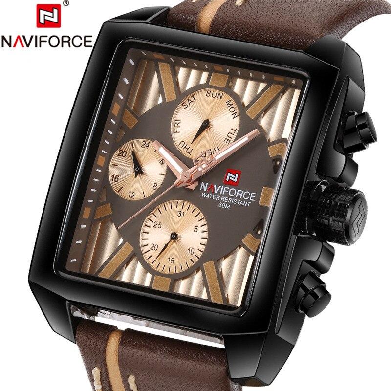 NAVIFORCE Men's Antique Watch Casual Watch Mens Watches Top Brand Luxury Business Genuine Leather Quartz Wristwatches Male Clock цена и фото