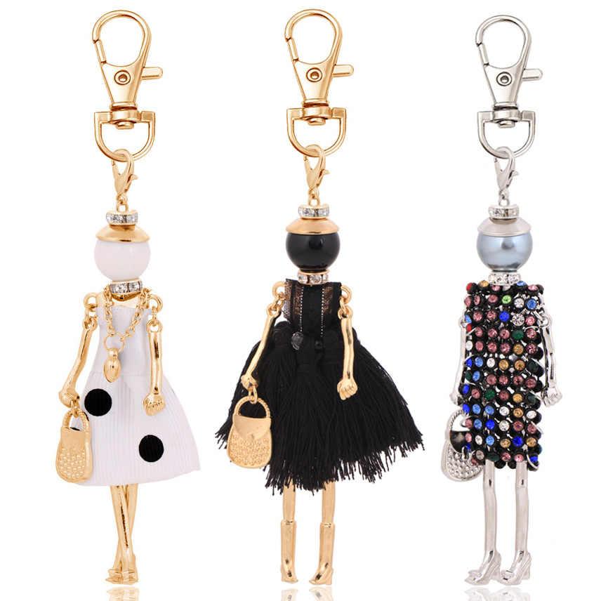 Tuyên bố thời trang phụ nữ móc chìa khóa thiết kế mới keychain giữ mặt dây quyến rũ đồ trang sức vòng chìa khóa túi dây móc khóa lady phụ kiện