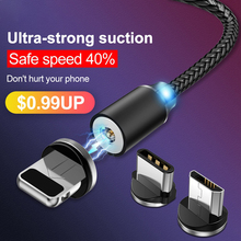 USAMS Micro USB Magnetic Cable USB Type C Fast Charge LED Magnet Charging cable For iphone Samsung Xiaomi USB Cable Charger Cord(China)