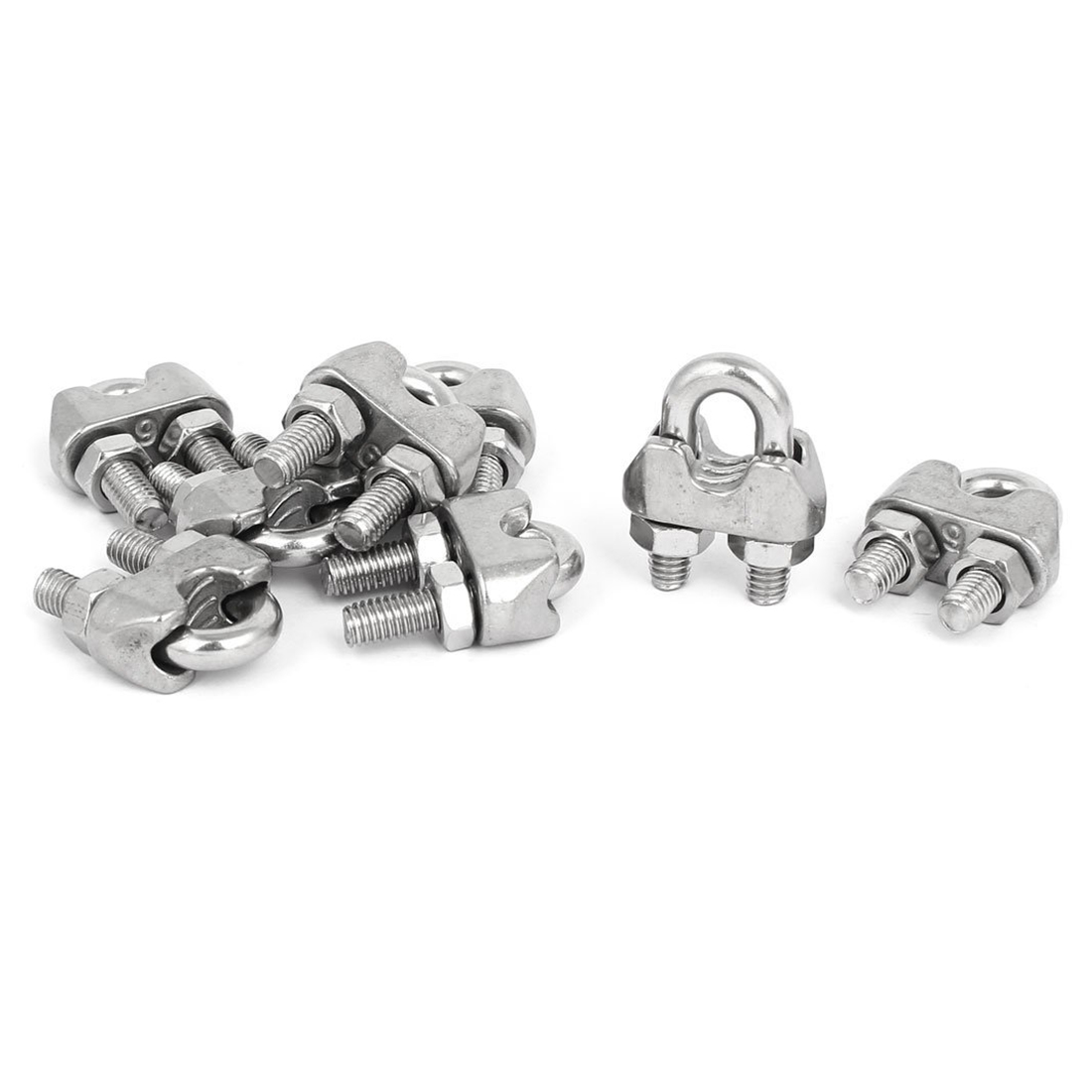 Dsha -m6 1/4 Inch 304 Stainless Steel U-shape Bolt Saddle Clamps Cable Wire Rope Clips 8 Pcs