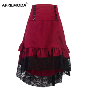 Image 3 - Costumes Steampunk Gothic Skirt Lace Women Clothing High Low Ruffle Party Lolita Red Medieval Victorian Punk Skater Button Front