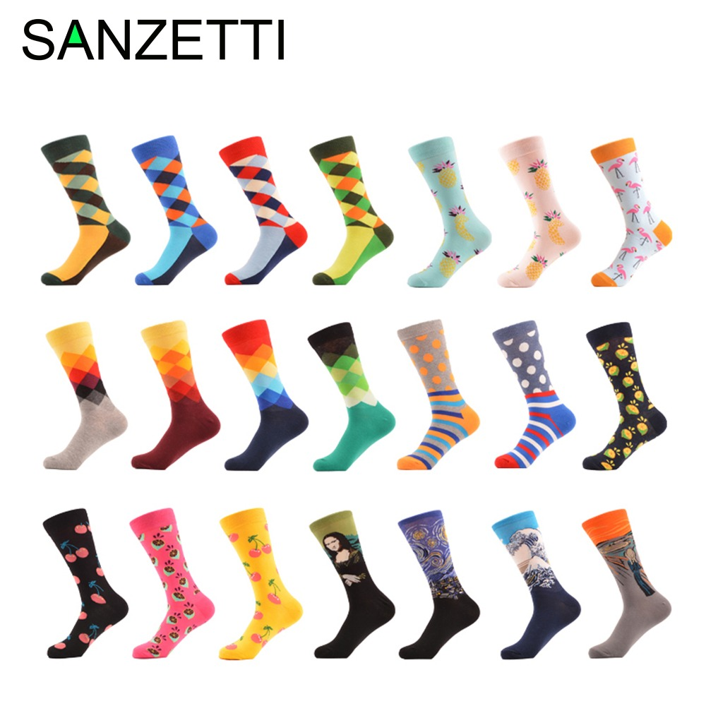 Sanzetti Mens Combed Cotton Socks Dress Socks Novelty Plaid Stripes Fruit Characters Fun Classic Pattern Party Pop Gift Socks Underwear & Sleepwears