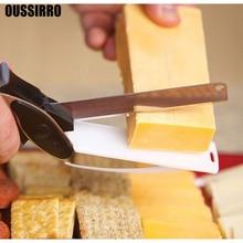 OUSSIRRRO 1 unids NUEVA clever cortador inteligente 2 en 1 cortador cuchillo y tabla de acero inoxidable Patata cortador de Carne queso vegetal