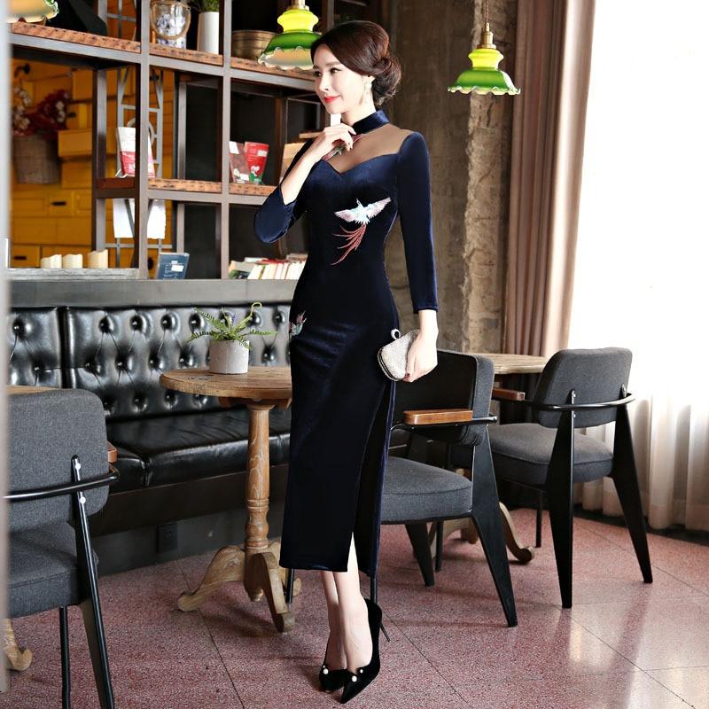2018 nouveau bleu marine velours Qipao robe Style chinois femmes Mandarin col Long Cheongsam robes de grande taille M L XL XXL XXXL 4XL - 3
