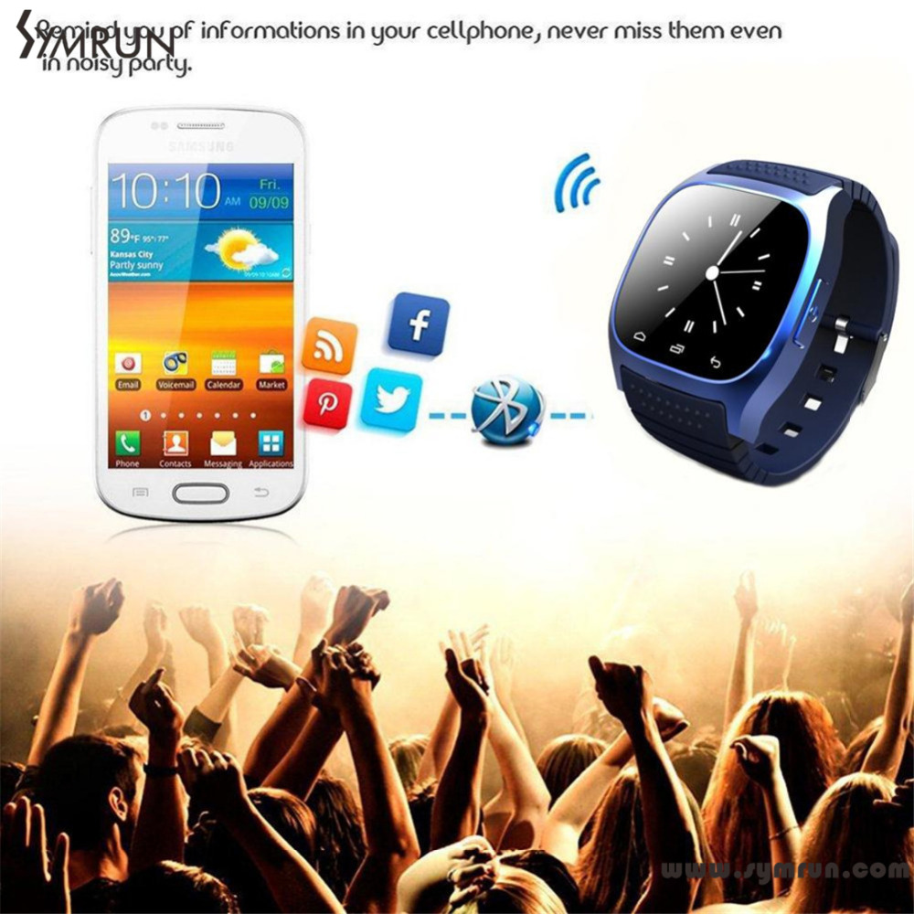 Symrun 2016 Bluetooth font b Smartwatch b font M26 Pedometer Fitness Tracker Waterproof Dial Sms Remind