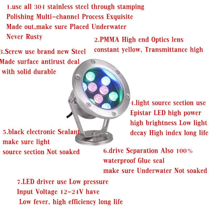 RGB LED Underwater Light 36W DC12V 24V IP68 Waterproof Swimming Pool Light Lamp Water Spotlight Fountain Lights Outdoor DMX512 - 4