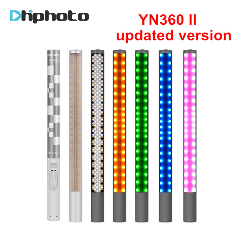 Yongnuo YN360 YN360 II Handheld Ice Stick LED Video Light built-in battery 3200k to 5500k RGB colorful controlled by Phone App mx3 battery 3 battery m351 m355 phone b030 original built in battery