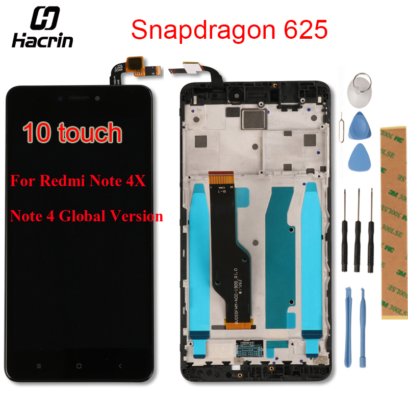 for Xiaomi Redmi Note 4X LCD Display + Touch Screen Panel + Frame Digitizer Assembly LCD Screen for Redmi Note 4 Global Version