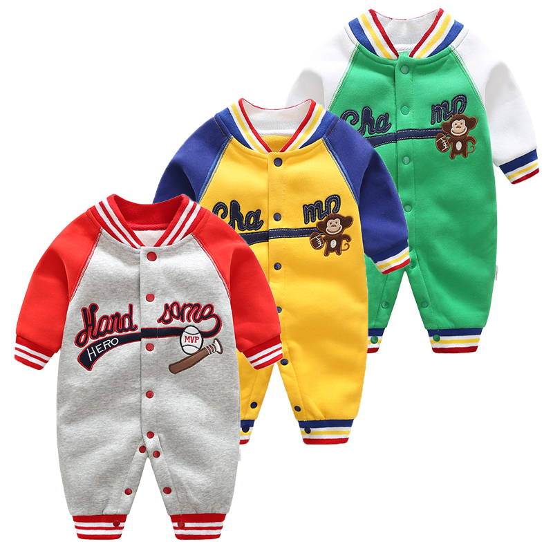 Newborn Baby Long Sleeved Jumpsuit Boys Girls Spring Autumn Clothes Baby Sports Sweaters Outwear Warm   Rompers   Baby Pajamas