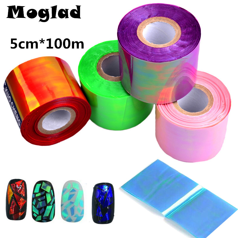 Moglad 1roll New Nail Foils Candy Colors Transfer Foil Manicure Broken Glass Nails Art Sticker Beauty Green Nail Art Decoration 3d 12 candy colors glass fragments shape nail art sequins decals diy beauty salon tip free shipping