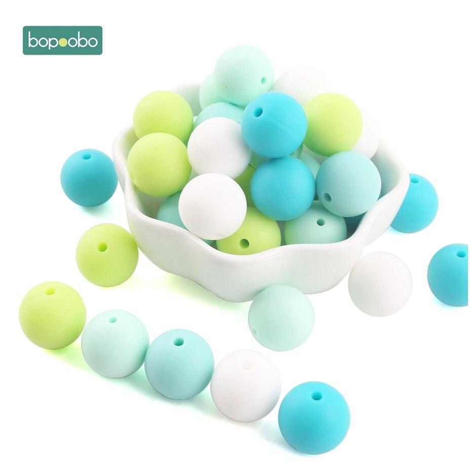 fdda6d694b40 Bopoobo 40 pc silicona perlas de silicona de grado de alimentos dentición  DIY pulsera de Enfermería