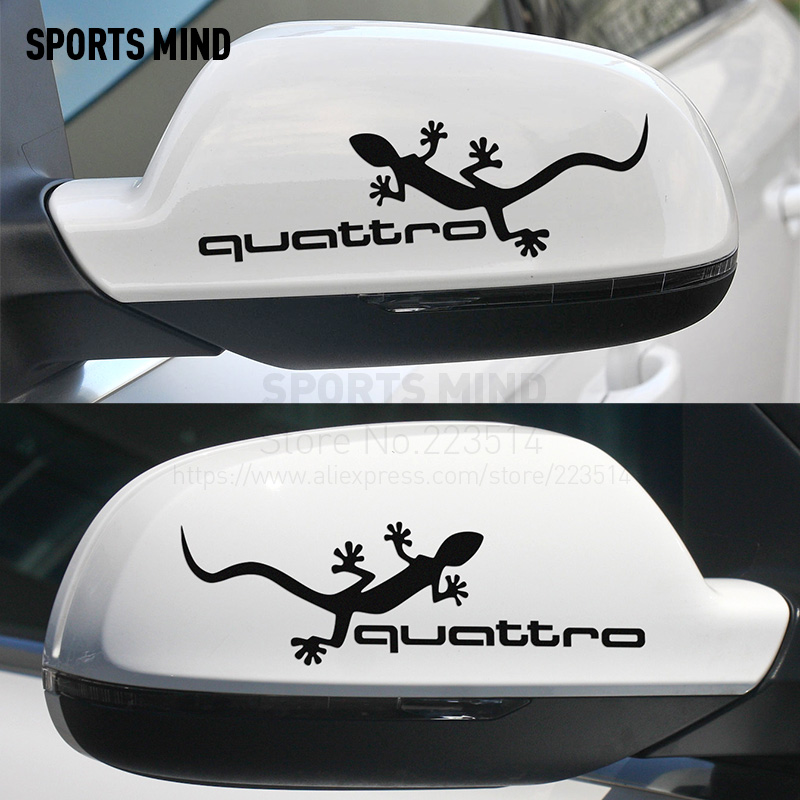 10 Pairs Sports Mind Gecko Quattro Rearview Mirror Stickers Car Styling For AUDI A6 C5 Quattro A3 A4 B6 A6 C7 Q5 Q7 Accessories