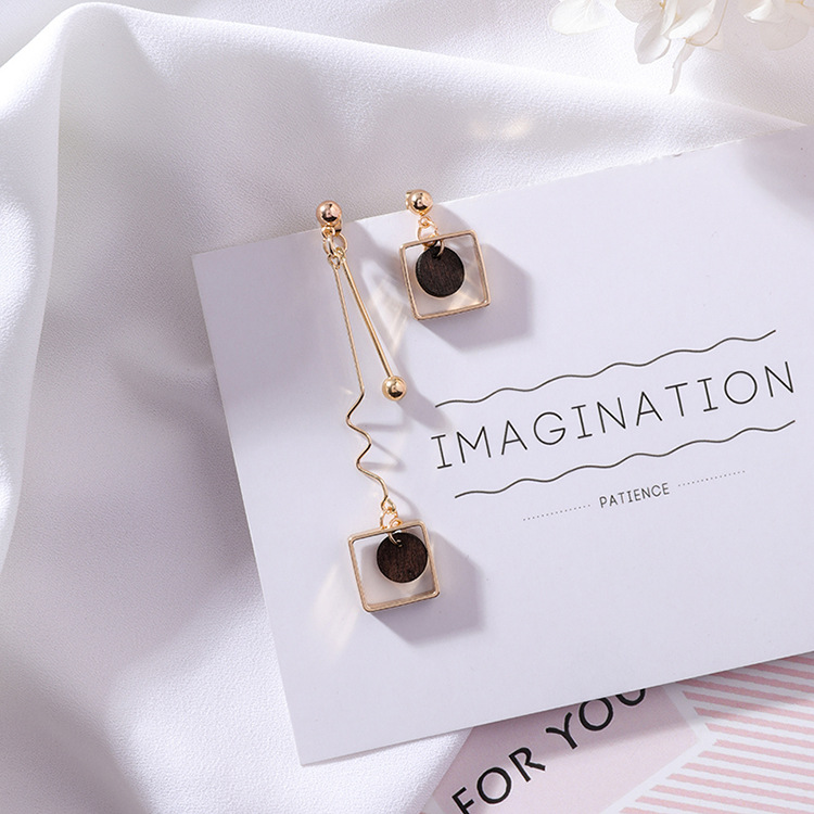 18 Asymmetry AB Style Wave Chain Geometric Earrings Alloy Square Wooden Wafer Pendientes Mujer Vintage Drop Earrings 6