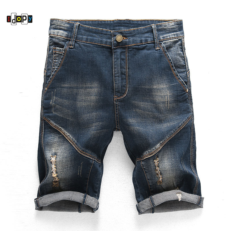Idopy Men`s Casual   Jeans   Shorts Designer Homme Slim Fit Ripped Distressed Cool Stretchy Denim Shorts For Male