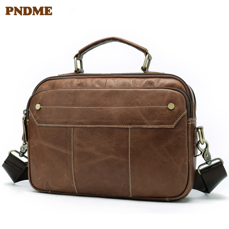 PNDME Summer Simple High Quality Genuine Leather Men's Briefcase Multi Function Business Casual Handmade Handbag Computer Bag