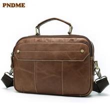 PNDME summer simple high quality genuine leather men's briefcase multi function business casual handmade handbag computer bag