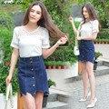 2016 новых женщин лето однобортный джинсовые юбки женщина высокие wais слово юбка женская ковбой бюст юбка сократить плохой стороны S-3XL
