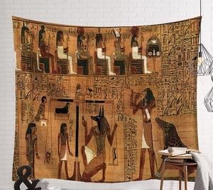 Image 5 - Cammitever 빈티지 이집트 시간 벽 교수형 사람들 침대 시트 장식 태피스 트리 미스터리 아트 비치 매트 130x150cm 150x200cm