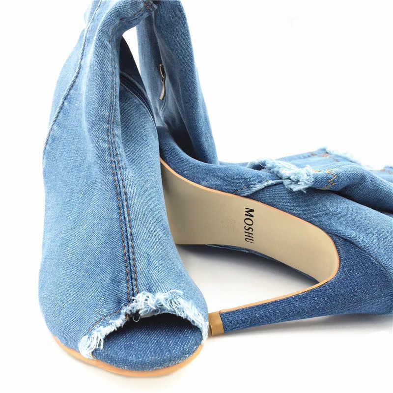 Seksi kadınlar diz üzerinde yüksek çizmeler Denim yüksek topuklu çizmeler kadın kot ayakkabı bayanlar Peep Toe Zip Stiletto Zapatos mujer katı