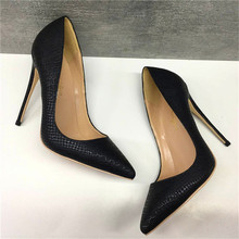 Free shipping  fashion women pumps Casual Black snake python printed pointed toe high heels shoes 12cm 10cm 8cm Stiletto heeled