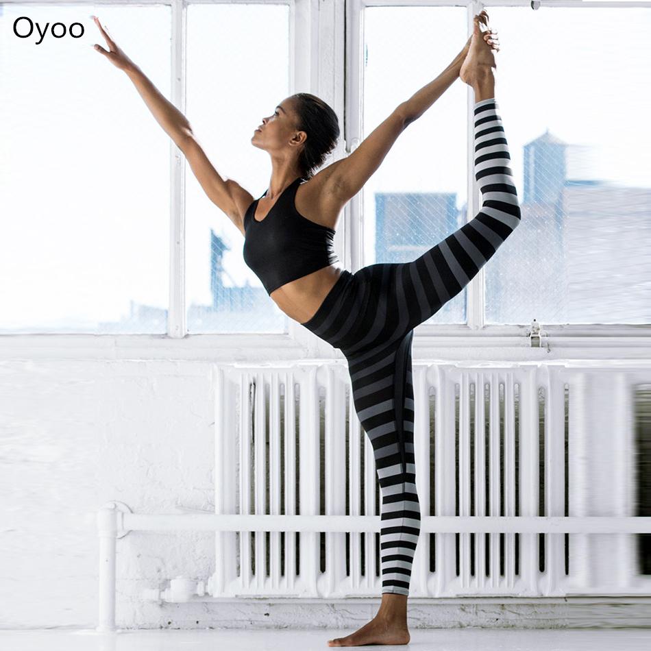 Prix pour Oyoo Meilleure Qualité Noir Gris Ombre Rayures Zèbre Yoga Pantalon Suprême Gym Fitness Leggings Rayé Collants Flexible Exercice Pantalon
